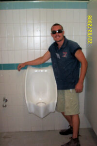 Zeroflush waterless urinals being installed at Enoggera army base by David Hutchins of Whywait Plumbing