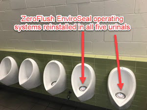 Desert Eco Adapt cartridge removed from Queensland Tennis Centre in ZeroFlush waterless urinals