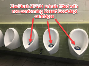 Desert eco adapt cartridge installed in ZeroFlush waterless urinals at Queensland tennis centre
