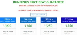 bunnings hot water service price beat guarantee